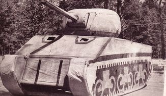 "An inflatable fake tank deployed by the ""Ghost Army"" during World War II weighed under 100 pounds but fooled enemy troops and saved lives. (Image courtesy of Ghost Army Legacy Project)"