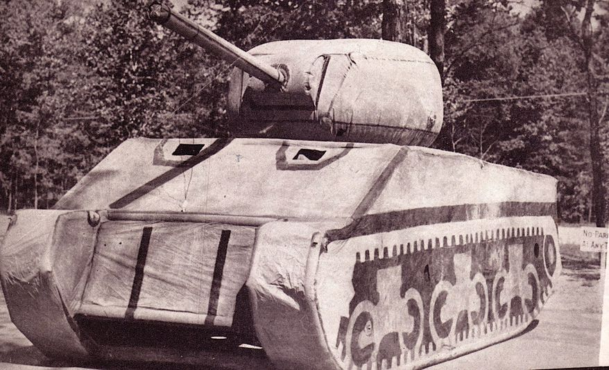 """An inflatable fake tank deployed by the """"Ghost Army"""" during World War II weighed under 100 pounds but fooled enemy troops and saved lives. (Image courtesy of Ghost Army Legacy Project)"""