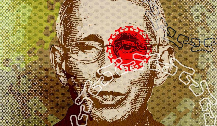 Fauci COVID-19 Virus Doctor Illustration by Greg Groesch/The Washington Times