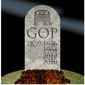 Illustration on the demise of the Republican Party by Alexander Hunter/The Washington Times