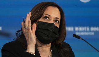 Vice President Kamala Harris, speaks during a roundtable discussion highlighting the disparities that Black women face in maternal health at the Eisenhower Executive Office Building on the White House complex in Washington, Tuesday, April 13, 2021. (AP Photo/Manuel Balce Ceneta)