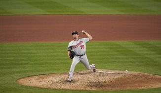 Washington Nationals relief pitcher Luis Avilan throws during the fifth inning of a baseball game against the St. Louis Cardinals Tuesday, April 13, 2021, in St. Louis. (AP Photo/Jeff Roberson) **FILE**