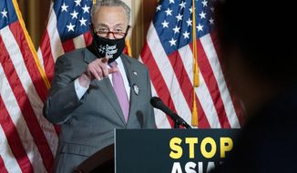 Senate Majority Leader Chuck Schumer, D-N.Y., speaks during a news conference on Capitol Hill, in Washington, Tuesday, April 13, 2021. (AP Photo/Jose Luis Magana)