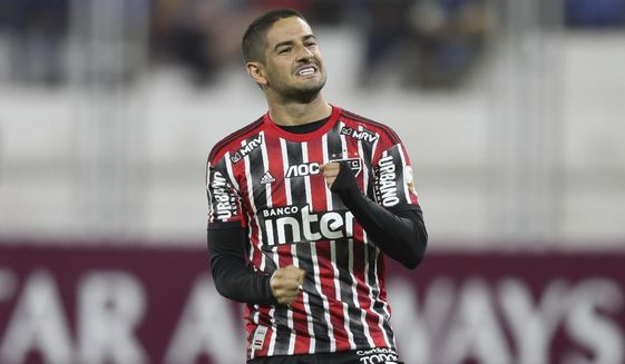 FILE - Alexandre Pato of Brazil's Sao Paulo celebrates after scoring against Peru's Binacional during a Copa Libertadores soccer match at the Guillermo Briceno Stadium in Juliaca, Peru, in this Thursday, March 5, 2020, file photo. Pato was without a club after departing São Paulo last summer but got an enticing offer from Orlando City after the team loaned Daryl Dike to Barnsley of the English Championship. (AP Photo/Martin Mejia, File)
