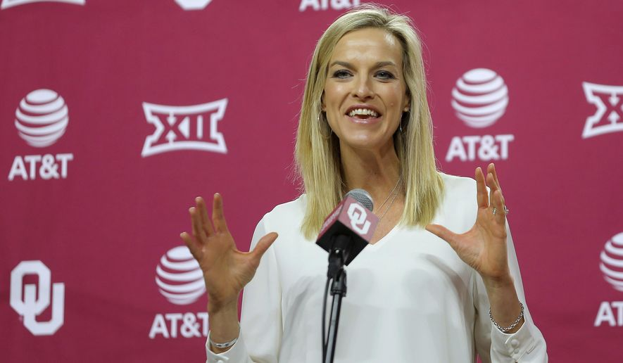 Oklahoma women's basketball coach Jennie Baranczyk speaks during her introductory press conference inside Lloyd Noble Center in Norman, Okla., Tuesday, April 13, 2021.(Bryan Terry/The Oklahoman via AP)