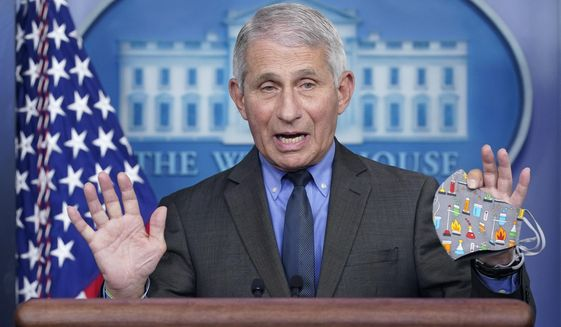 Dr. Anthony Fauci, director of the National Institute of Allergy and Infectious Diseases, speaks during a press briefing at the White House, Tuesday, April 13, 2021, in Washington. (AP Photo/Patrick Semansky)