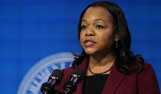 Assistant Attorney General for the Civil Rights Division nominee Kristen Clarke speaks during an event with President-elect Joe Biden and Vice President-elect Kamala Harris at The Queen theater in Wilmington, Del., Thursday, Jan. 7, 2021. (AP Photo/Susan Walsh) **FILE**