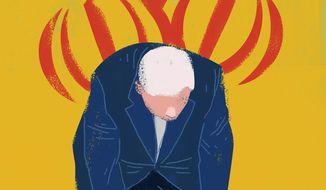Biden team on Iran illustration by Linas Garsys / The Washington Times