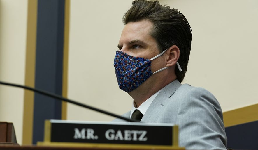 Rep. Matt Gaetz, R-Fla., attends a House Judiciary committee markup at the Capitol in Washington, Wednesday, April 14, 2021. (AP Photo/J. Scott Applewhite)