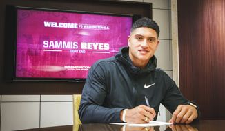 Sammis Reyes, a former college basketball player turned tight end, signs a contract with the Washington Football Team. (Photo courtesy of The Washington Football Team)