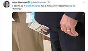 "The visage of Vice President Kamala Harris appears on a ""Missing Children""-inspired milk carton, April 14, 2021. (Image: Jake Sherman, Twitter, full-tweet screenshot)"