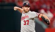Washington Nationals starting pitcher Stephen Strasburg throws during the third inning of a baseball game against the St. Louis Cardinals Tuesday, April 13, 2021, in St. Louis. (AP Photo/Jeff Roberson)