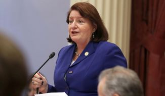 """FILE - In this Sept. 12, 2019, file photo, California state Senate President Pro Tem Toni Atkins, of San Diego, speaks on the floor of the Senate in Sacramento, Calif. On Wednesday, April 14, 2021, Senate Democrats outlined their plan to spend the state's projected multi-billion dollar budget surplus this year. It includes giving government-funded health insurance to low-income adults living in the country illegally and expanding tuition grants to help students pay for college without going into debt. Atkins, a Democrat from San Diego, said the plan was """"more ambitious than any legislative budget proposal in memory."""" (AP Photo/Rich Pedroncelli, File)"""