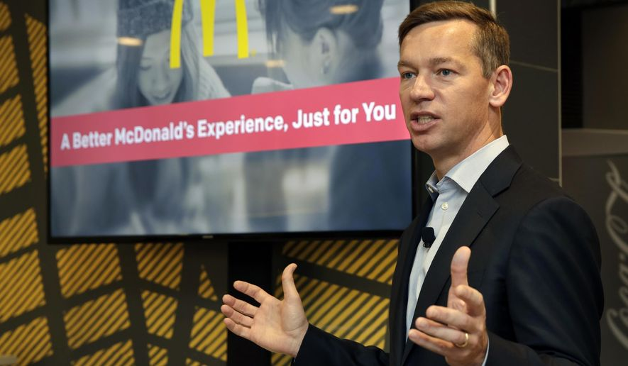 FILE - In this Nov. 17, 2016, file photo, Chris Kempczinski, then-incoming president of McDonald's USA, speaks during a presentation at a McDonald's restaurant in New York's Tribeca neighborhood. On Wednesday, April 14, 2021, McDonald's said the company will mandate worker training to combat harassment, discrimination and violence in its restaurants worldwide starting in 2022. (AP Photo/Richard Drew, File)