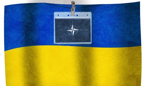 Illustration on Ukrainian membership in NATO by Alexander Hunter/The Washington Times
