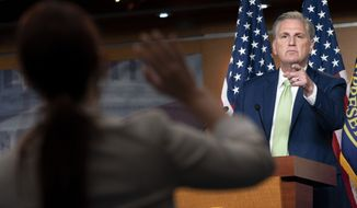 House Minority Leader Kevin McCarthy of Calif., calls on a reporter, Thursday, April 15, 2021, during a news conference on Capitol Hill in Washington. (AP Photo/Jacquelyn Martin)