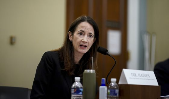 Director Avril Haines of the Office of the Director of National Intelligence (ODNI) testifies during a House Intelligence Committee hearing on Capitol Hill in Washington, Thursday, April 15, 2021. (Al Drago/Pool via AP)
