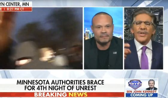 """Geraldo Rivera clashes with Dan Bongino over policing and race issue in America, April 14, 2021. (Image: Fox News, """"Hannity"""" video screenshot)"""