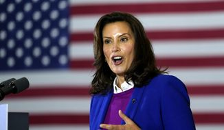 In this Oct. 16, 2020, file photo, Michigan Gov. Gretchen Whitmer speaks at Beech Woods Recreation Center, in Southfield, Mich. (AP Photo/Carolyn Kaster, File)