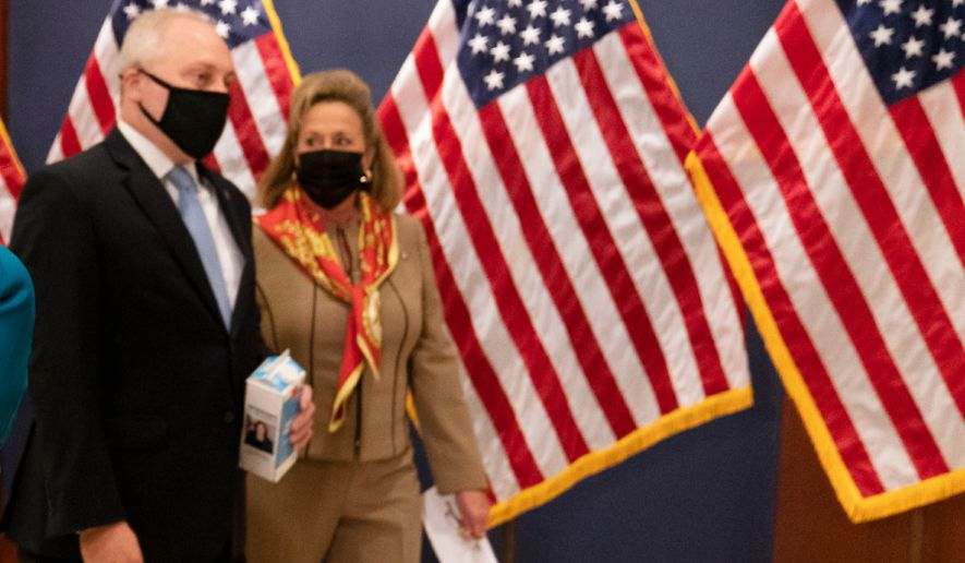 Wednesday, April 14, 2021, in Washington. Rep. Steve Scalise, R-La., and Rep. Ann Wagner, R-Mo., right. cropped from original (AP Photo/Manuel Balce Ceneta)
