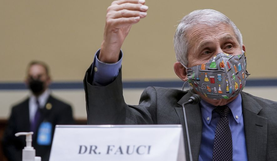 Dr. Anthony Fauci, director of the National Institute of Allergy and Infectious Diseases, speaks during a House Select Subcommittee hearing on Capitol Hill in Washington, Thursday, April 15, 2021, on the coronavirus crisis. (Amr Alfiky/The New York Times via AP, Pool)