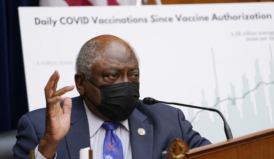 House Majority Whip James E. Clyburn, D-S.C., and Chairman of the House Select Subcommittee on the Coronavirus Crisis speaks during a hearing on Capitol Hill in Washington, Thursday, April 15, 2021, on the coronavirus crisis. (AP Photo/Susan Walsh, Pool)  **FILE**