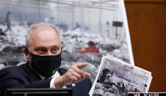 House Minority Whip Steve Scalise, R-La., talks about the border during a House Select Subcommittee hearing on Capitol Hill in Washington, Thursday, April 15, 2021, on the coronavirus crisis. (AP Photo/Susan Walsh, Pool)