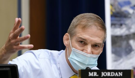 Rep. Jim Jordan, R-Ohio, questions Dr. Anthony Fauci, the nation's top infectious disease expert, during a House Select Subcommittee hearing on Capitol Hill in Washington, Thursday, April 15, 2021, on the coronavirus crisis. (AP Photo/Susan Walsh, Pool)