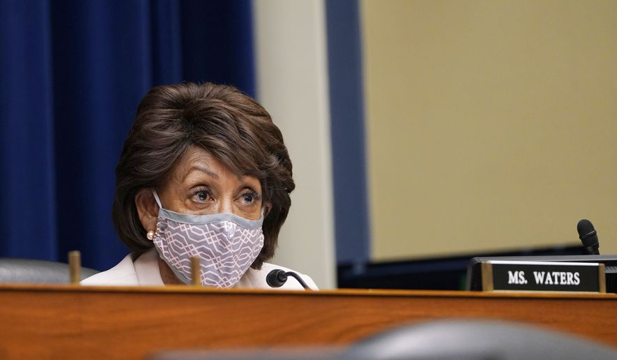 Rep. Maxine Waters, D-Calif., speaks during a House Select Subcommittee hearing on Capitol Hill in Washington, Thursday, April 15, 2021, on the coronavirus crisis. (AP Photo/Susan Walsh, Pool) **FILE**