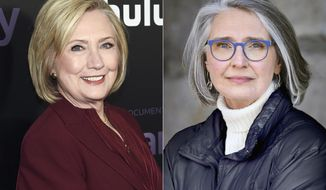 """This combination photo shows former secretary of state Hillary Clinton at the premiere of the Hulu documentary """"Hillary"""" in New York on March 4, 2020, left, and a portrait of author Louise Penny. Their novel """"State of Terror,"""" comes out Oct. 12, 2021. (Photo by Evan Agostini/Invision/AP, left, and Jean-Francois Bérubé via AP)"""