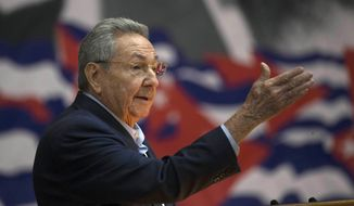 In this April 16, 2016, file photo, Cuba's President Raul Castro addresses the Cuban Communist Party Congress in Havana, Cuba. The VIII Congress of the Communist Party of Cuba, between April 16 and 19, 2021, could go down in history as the last with a member of the Castro family at the head, if Raul Castro fulfills his announcement to say goodbye as secretary-general. (Ismael Francisco/Cubadebate via AP File)