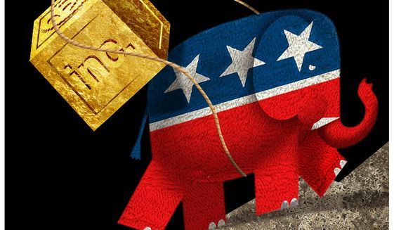 Illustration on the GOP and corporate support by Alexander Hunter/The Washington Times