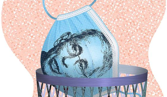 Fauci Mask Illustration by Greg Groesch/The Washington Times