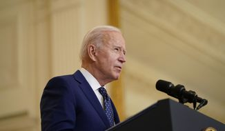 President Joe Biden speaks in the East Room of the White House, in Washington, Thursday, April 15, 2021. More than a dozen Senate Democrats sent a letter on Friday, April 16, 2021, to Biden highlighting the woeful environmental track record of his Brazilian counterpart and urging him to condition any support for Amazon preservation on significant progress reducing deforestation. (AP Photo/Andrew Harnik)