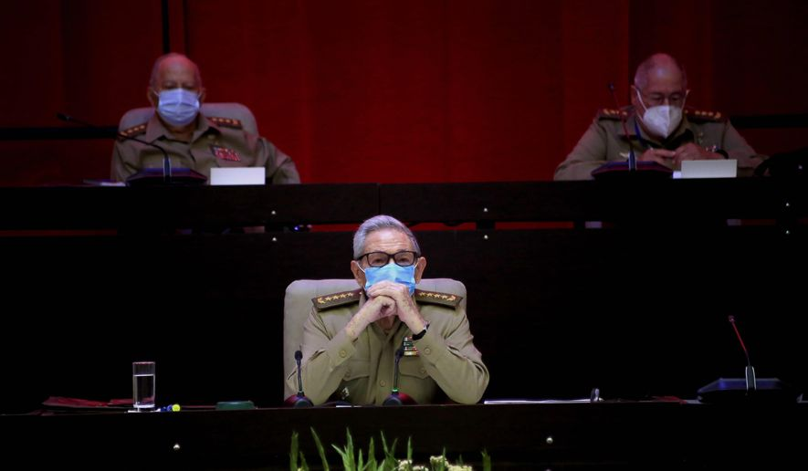 Raul Castro, first secretary of the Communist Party and former president, attends the VIII Congress of the Communist Party of Cuba's opening session, at the Convention Palace in Havana, Cuba, Friday, April 16, 2021. (Ariel Ley Royero/ACN via AP)