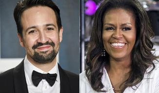 """Lin-Manuel Miranda arrives at the Vanity Fair Oscar Party in Beverly Hills, Calif. on Feb. 9, 2020, left, and Michelle Obama participates in the International Day of the Girl on NBC's """"Today"""" show in New York on Oct. 11, 2018. Miranda and Obama will join other celebrities in """"Roll Up Your Sleeves,"""" a vaccine initiative airing at 7 p.m. EDT Sunday on NBC,(AP Photo)"""