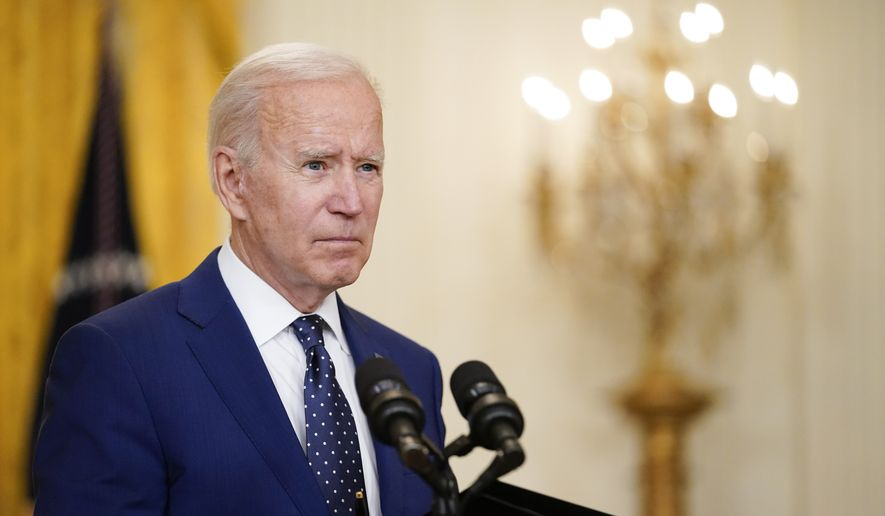 In this April 15, 2021, photo President Joe Biden speaks about Russia in the East Room of the White House in Washington. In recent days, Mr. Biden has piled new sanctions on Russia, announced he would withdraw all U.S. troops from Afghanistan in less than five months and backed away from a campaign promise to sharply raise refugee admission caps. (AP Photo/Andrew Harnik, File)