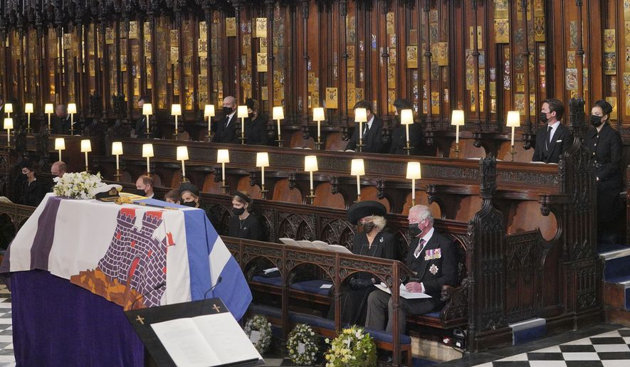 Mourners including, front row from left, Kate Duchess of Cambridge, Prince William, Prince Edward, Viscount Severn, Lady Louise Mountbatten-Windsor, the Countess of Wessex, the Duchess of Cornwall during the funeral of Prince Philip, at St George's Chapel in Windsor Castle, Windsor, England, Saturday April 17, 2021. Prince Philip died April 9 at the age of 99 after 73 years of marriage to Britain's Queen Elizabeth II. Back row, from left, the Earl of Snowdon, Peter Phillips, Mike Tindall, Zara Tindall, Jack Brooksbank, Princess Eugenie, Edoardo Mapelli Mozzi and Princess Beatrice. (Dominic Lipinski/Pool via AP)