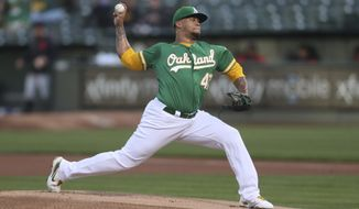 Oakland Athletics pitcher Frankie Montas throws to a Detroit Tigers batter during the first inning of a baseball game in Oakland, Calif., Friday, April 16, 2021. (AP Photo/Jed Jacobsohn)