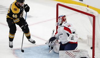 Boston Bruins' David Krejci (46) scores on Washington Capitals' Vitek Vanecek (41) during the first period of an NHL hockey game, Sunday, April 18, 2021, in Boston. (AP Photo/Michael Dwyer)