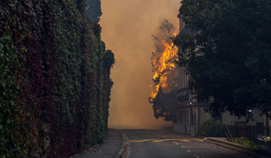 A building burns on the campus of the University of Cape, South Africa, Sunday, April 18, 2021. A wildfire raging on the slopes of the mountain forced the evacuation of students from the University. (AP Photo)