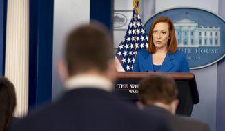 White House press secretary Jen Psaki speaks during a press briefing at the White House in Washington, Monday, April 19, 2021. (AP Photo/Andrew Harnik)