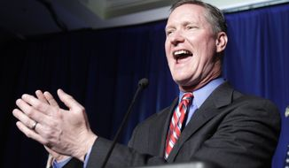 In this Nov. 2, 2010 file photo, Republican Steve Stivers speaks to supporters after defeating Democratic Rep. Mary Jo Kilroy in the 15th Congressional District during the Ohio Republican Party's election night celebration in Columbus, Ohio. A former campaign chairman for House Republicans is resigning from office. Rep. Steve Stivers of Ohio says he'll leave Congress next month to run his home state's chamber of commerce. Stivers has been serving in the House since 2011 and had been viewed as a potential candidate to run for the seat held by retiring Republican Sen. Rob Portman of Ohio. (AP Photo/Tony Dejak) **FILE**