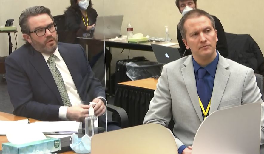 In this image from video, defense attorney Eric Nelson, left, and defendant, former Minneapolis police officer Derek Chauvin, speak to Hennepin County Judge Peter Cahill after the judge has put the trial into the hands of the jury. Monday, April 19, 2021, in the trial of Chauvin, in the May 25, 2020, death of George Floyd at the Hennepin County Courthouse in Minneapolis, Minn. (Court TV via AP, Pool) **FILE**