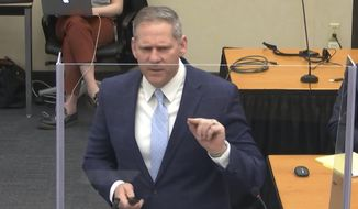 In this image from video, prosecutor Steve Schleicher gives closing arguments as Hennepin County Judge PeterCahill presides Monday, April 19, 2021, in the trial of former Minneapolis police Officer Derek Chauvin at the Hennepin County Courthouse in Minneapolis. Chauvin is charged in the May 25, 2020 death of George Floyd.  (Court TV via AP, Pool)