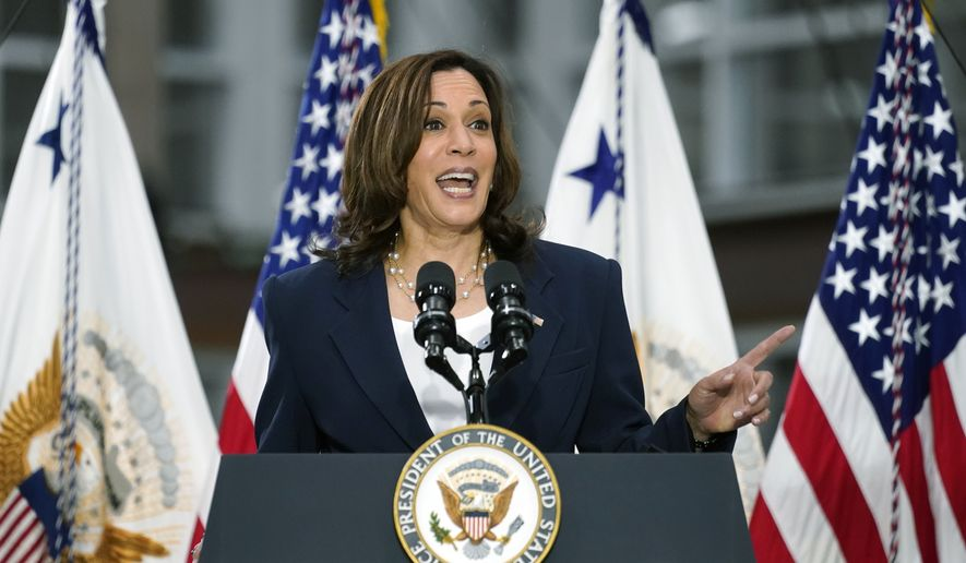 Vice President Kamala speaks at Guilford Technical Community College, Monday, April 19, 2021, in Jamestown, N.C., about the Biden administration's American Jobs Plan. (AP Photo/Carolyn Kaster)