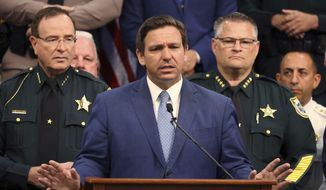 Gov. Ron DeSantis is shown in this file photo at a news conference at the Polk County Sheriff's Office in Winter Haven, Fla., on Monday, April 19, 2021. (Ricardo Ramirez Buxeda/Orlando Sentinel via AP)  **FILE**