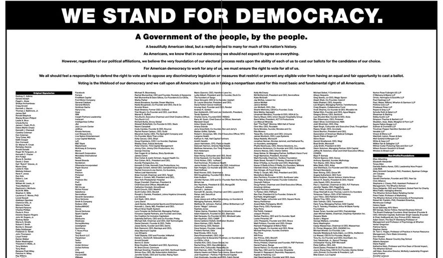 Business leaders' letter in a two-page ad in The New York Times.