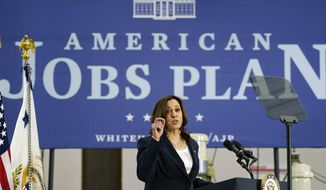 Vice President Kamala Harris speaks at Guilford Technical Community College, Monday, April 19, 2021, in Jamestown, N.C., about the Biden administration's American Jobs Plan. (AP Photo/Carolyn Kaster)