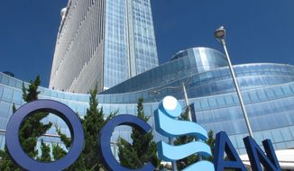 FILE - This Oct. 1, 2020, file photo shows the exterior of the Ocean Casino Resort in Atlantic City, N.J. The casino's owners told The Associated Press on Monday, April 19, 2021, they will spend $15 million on renovations, raises for employees, and charitable donations. (AP Photo/Wayne Parry, File)